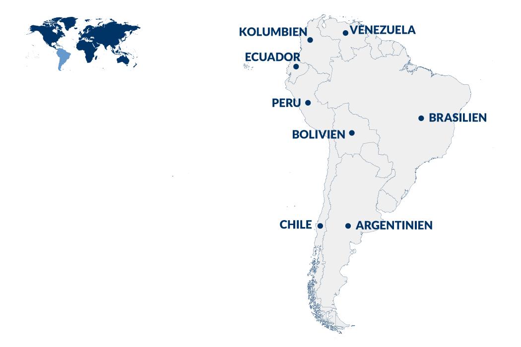 Südamerika Reisen –Karte