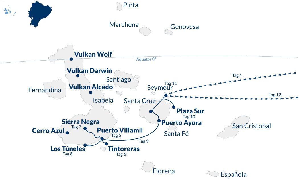 Ecuador Galapagos Rundreise – Karte