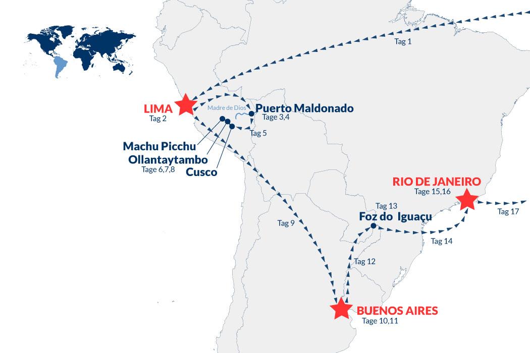 Peru Argentinien Brasilien Rundreise – Karte